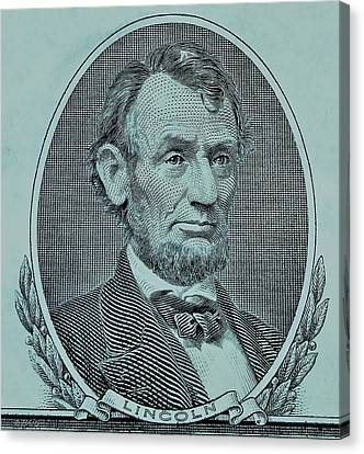 Canvas Print featuring the photograph Abe On The 5 Lite Blue by Rob Hans