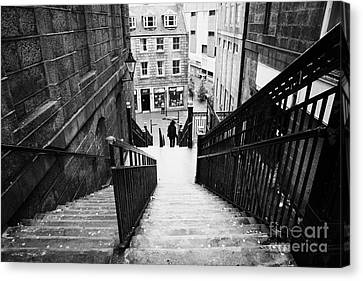 Aberdeen Union Street Back Wynd Stairs Scotland Uk Canvas Print by Joe Fox