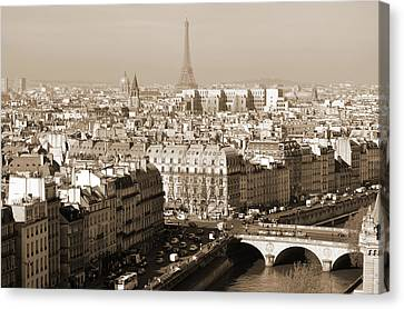 Landmarks Canvas Print - Above Paris France Rooftops With Pont Au Change Les Invalides Dome And Eiffel Tower Sepia by Shawn O'Brien