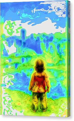 Above The Clouds - A Fantasy Artwork With A Girl Looking Towards Something Mysterious Canvas Print by Alexandra Cook