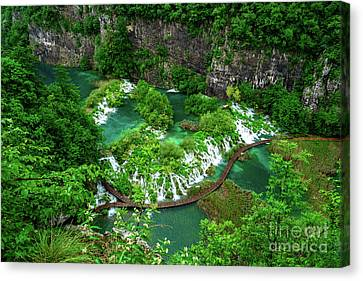 Above The Paths And Waterfalls At Plitvice Lakes National Park, Croatia Canvas Print by Global Light Photography - Nicole Leffer