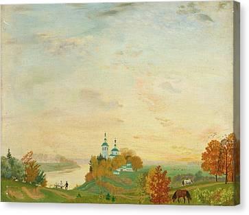 Above The River Canvas Print by Boris Mikhailovich Kustodiev