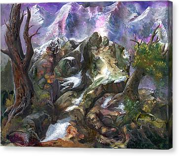 Canvas Print featuring the painting Above The Timberline by Sherry Shipley