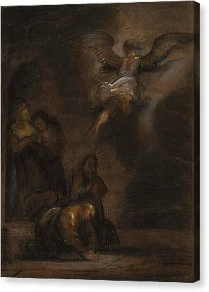 Abraham And The Angel Canvas Print