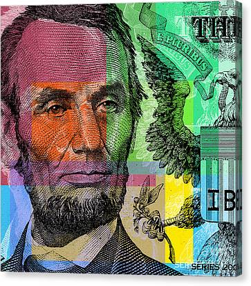 Canvas Print featuring the digital art Abraham Lincoln - $5 Bill by Jean luc Comperat