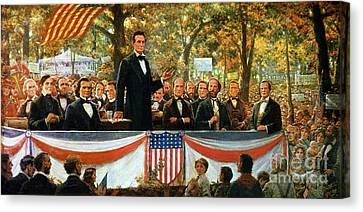Abraham Lincoln And Stephen A Douglas Debating At Charleston Canvas Print