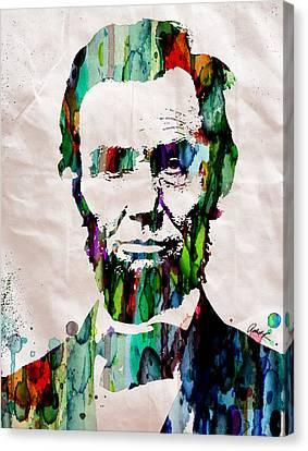 Abraham Lincoln Art Watercolor Canvas Print