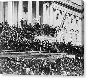 Abraham Lincoln Gives His Second Inaugural Address - March 4 1865 Canvas Print by International  Images