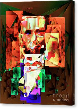 Canvas Print featuring the photograph Abraham Lincoln In Abstract Cubism 20170327 by Wingsdomain Art and Photography