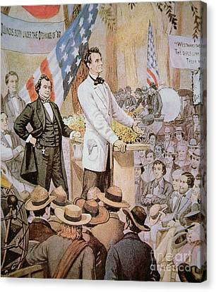 Orator Canvas Print - Abraham Lincoln In Public Debate With Stephen A Douglas In Illinois, 1858  by American School