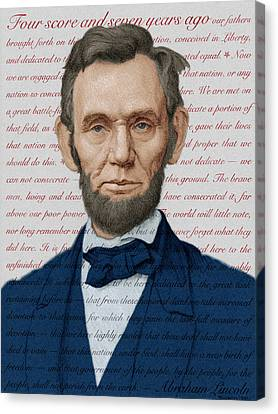 Abraham Lincoln - Patriotic Palette Canvas Print by Swann Smith