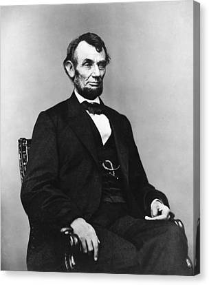 Abraham Lincoln Portrait - Used For The Five Dollar Bill - C 1864 Canvas Print by International  Images
