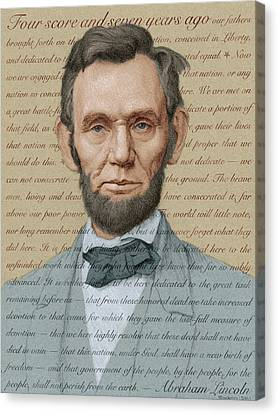 Lincoln Drawings Canvas Print - Abraham Lincoln - Soft Palette by Swann Smith