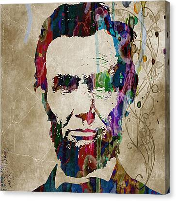 Abraham Lincoln Watercolor Modern Abstract Pop Art Color Canvas Print by Robert R Splashy Art Abstract Paintings