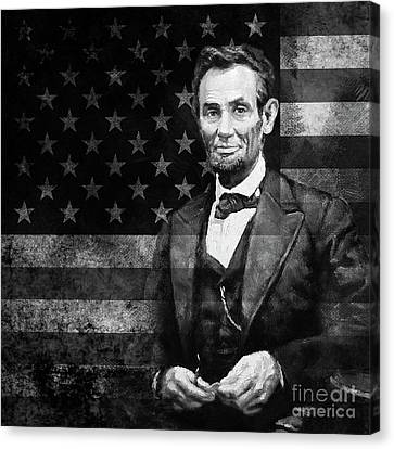 Abraham Lincoln With American Flag  Canvas Print by Gull G