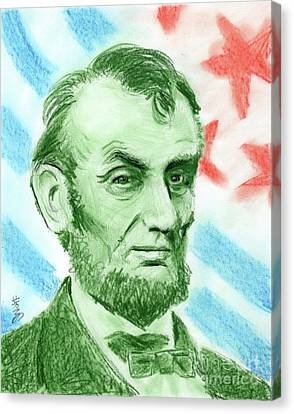 Canvas Print featuring the drawing Abraham Lincoln  by Yoshiko Mishina