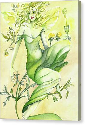 Canvas Print featuring the painting Absinthe-the Green Fairy by Nadine Dennis