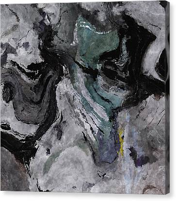 Canvas Print featuring the painting Abstract And Minimalist Acryling Painting In Gray Color by Ayse Deniz