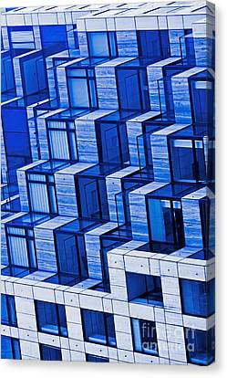 Abstract Architecture In Blue Canvas Print by Mark Hendrickson