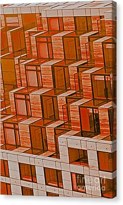 Abstract Architecture In Red Canvas Print by Mark Hendrickson