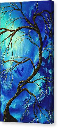 Abstract Art Asian Blossoms Original Landscape Painting Blue Veil By Madart Canvas Print by Megan Duncanson