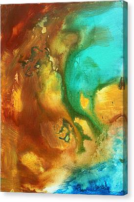 Abstract Art Colorful Turquoise Rust River Of Rust I By Madart  Canvas Print by Megan Duncanson