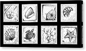Abstract Art Contemporary Coastal Sea Shell Sketch Collection By Madart Canvas Print by Megan Duncanson