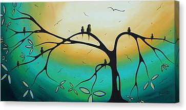 Abstract Art Landscape Bird Painting Family Perch By Madart Canvas Print by Megan Duncanson