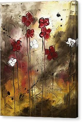 Abstract Art Original Flower Painting Floral Arrangement By Madart Canvas Print by Megan Duncanson