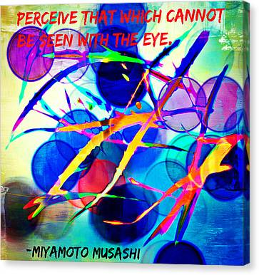 Abstract Artwork With Miyamoto Musashi Quote Canvas Print by Aurelio Zucco