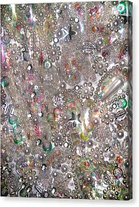 Artisan Canvas Print - Abstract Beadwork Mosaic With Rhinestones And Pearl Beads by Sofia Metal Queen