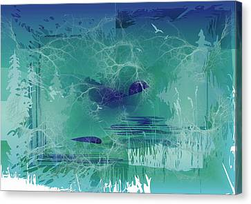 Canvas Print featuring the digital art Abstract Blue Green by Robert G Kernodle