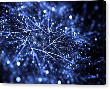 Abstract Blue Particle Dust With Bokeh Effect Canvas Print