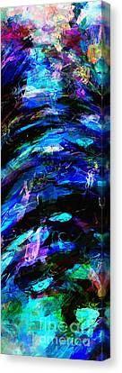 Canvas Print featuring the painting Abstract Blue Symphony Tall No1 by Ginette Callaway