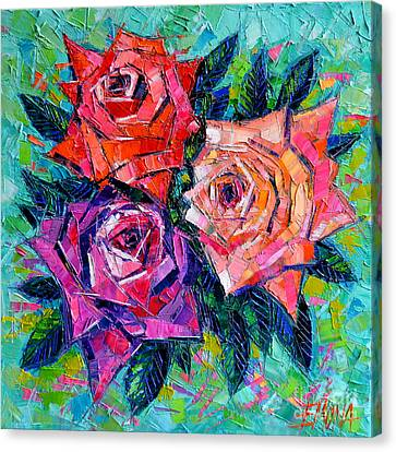 Abstract Bouquet Of Roses Canvas Print by Mona Edulesco
