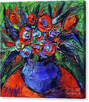 Abstract Bouquet On Vermilion Table - Impasto Palette Knife Oil Painting - Mona Edulesco Canvas Print by Mona Edulesco