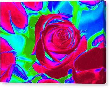 Abstract Burgundy Roses Canvas Print