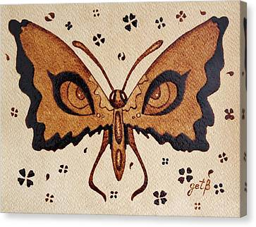 Abstract Butterfly Coffee Painting Canvas Print by Georgeta  Blanaru