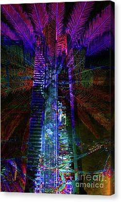 Abstract City In Purple Canvas Print by Barbara Dudzinska