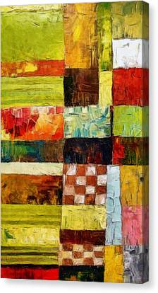Abstract Color Study With Checkerboard And Stripes Canvas Print by Michelle Calkins