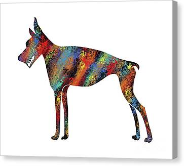 Abstract Colorful Doberman Pinscher Dog Canvas Print by Apostrophe Art