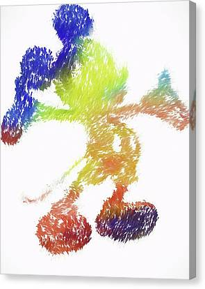 Abstract Colorful Mickey Mouse Canvas Print