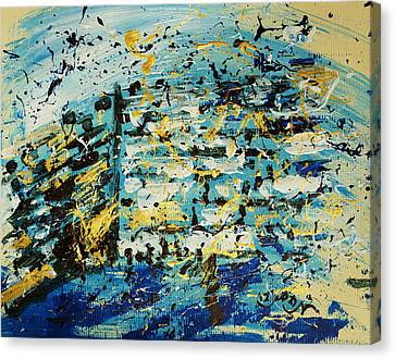 Abstract Contemporary Western Wall Kotel Prayer Painting With Splatters In Blue Gold Black Yellow Canvas Print