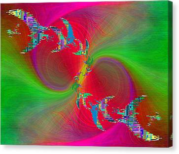 Canvas Print featuring the digital art Abstract Cubed 383 by Tim Allen
