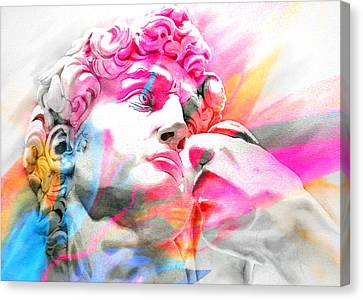 Canvas Print featuring the painting Abstract David Michelangelo 5 by J- J- Espinoza
