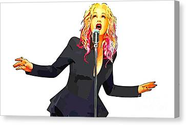 Abstract Digital Painting Of Cyndi Lauper Canvas Print by John Malone