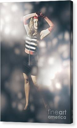 Abstract Fashion Girl Amongst Glittering Lights Canvas Print