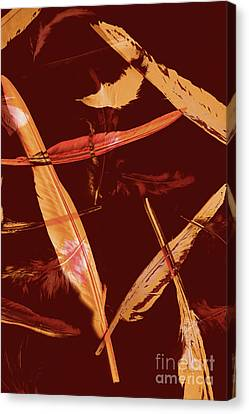 Copyspace Canvas Print - Abstract Feathers Falling On Brown Background by Jorgo Photography - Wall Art Gallery