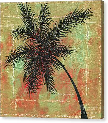 Abstract Floral Fauna Palm Tree Leaf Tropical Palm Splash Abstract Art By Megan Duncanson  Canvas Print by Megan Duncanson