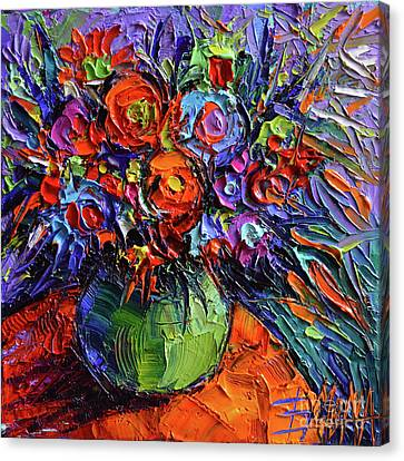 Abstract Floral On Orange Table - Impasto Palette Knife Oil Painting Canvas Print by Mona Edulesco